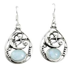 Natural rainbow moonstone 925 silver crescent moon star earrings d17328