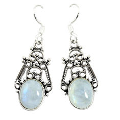 Clearance Sale- Natural rainbow moonstone 925 sterling silver earrings jewelry d17355