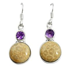 Yellow fossil coral (agatized) petoskey stone 925 silver dangle earrings d17371