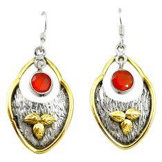 Natural orange cornelian (carnelian) 925 silver two tone dangle earrings d17422