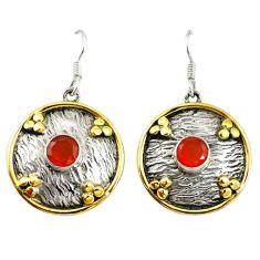 Natural orange cornelian (carnelian) 925 silver two tone dangle earrings d17425