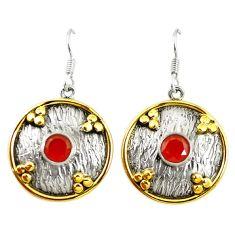 Natural orange cornelian (carnelian) 925 silver two tone dangle earrings d17426