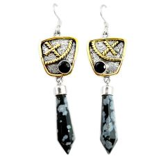 Natural black australian obsidian 925 silver two tone dangle earrings d17430