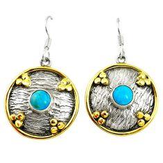 Blue sleeping beauty turquoise 925 silver two tone dangle earrings d17435