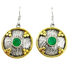 Victorian natural green chalcedony 925 silver two tone dangle earrings d17436