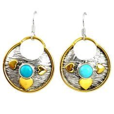 Blue arizona mohave turquoise 925 silver two tone dangle earrings d17440