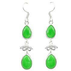 Green jade pear shape 925 sterling silver dangle earrings jewelry d19782