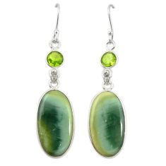 Natural green imperial jasper peridot 925 silver dangle earrings d19969