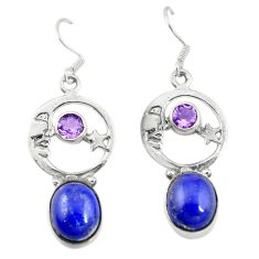 Natural blue lapis lazuli 925 silver crescent moon star earrings d19981