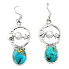 Blue copper turquoise 925 silver crescent moon star earrings d20021