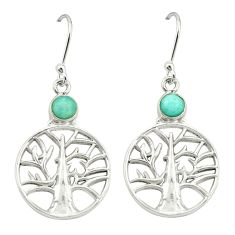Natural green peruvian amazonite 925 silver tree of life earrings d20054