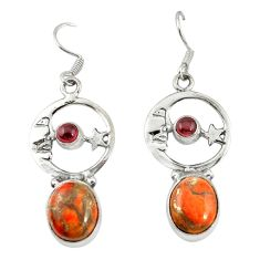 925 silver red copper turquoise crescent moon star earrings d20064