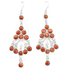 Natural brown goldstone 925 sterling silver dangle earrings jewelry d20155