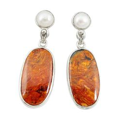 Natural brown pietersite (african) 925 silver dangle earrings jewelry d20361