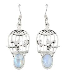 Natural rainbow moonstone 925 sterling silver dangle cage earrings d20502