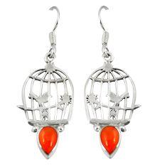 925 silver natural orange cornelian (carnelian) dangle cage earrings d20504
