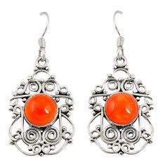 Natural orange cornelian (carnelian) 925 silver dangle earrings d20506
