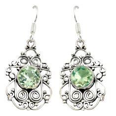Natural green amethyst 925 sterling silver dangle earrings d20507