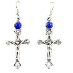 Natural blue lapis lazuli 925 sterling silver holy cross earrings d20517