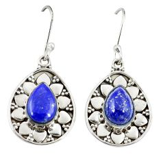 Clearance Sale- Natural blue lapis lazuli 925 sterling silver dangle earrings d20582