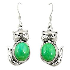 Natural green chrysoprase 925 sterling silver cat earrings jewelry d22016