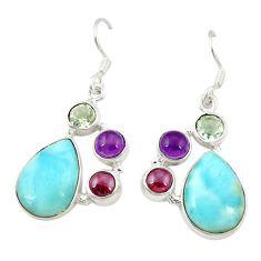 Clearance Sale- 925 silver natural blue larimar purple amethyst dangle earrings d22043