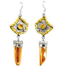 Golden aura quartz (arkansas) 925 silver two tone dangle earrings d22187