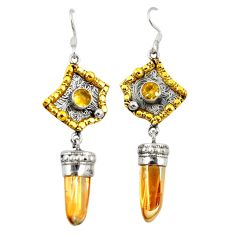 Golden aura quartz (arkansas) 925 silver two tone dangle earrings d22189