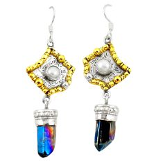 Titanium aura quartz (arkansas) 925 silver two tone dangle earrings d22191