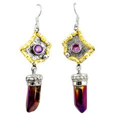 Titanium aura quartz (arkansas) 925 silver two tone dangle earrings d22192