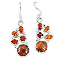 Natural multi color ammolite (canadian) 925 silver dangle earrings d23182