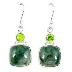 Clearance Sale- Natural green moss agate peridot 925 silver dangle earrings jewelry d23598