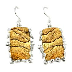 Natural brown picture jasper 925 sterling silver dangle earrings d2394