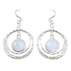 Natural rainbow moonstone 925 sterling silver dangle earrings d25165
