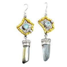 Blue aura quartz (arkansas) 925 silver 14k gold dangle earrings jewelry d25697