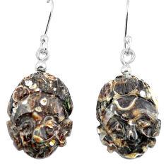 Clearance Sale- Brown turritella fossil snail agate 925 silver buddha charm earrings d29469