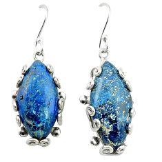 Natural blue shattuckite 925 sterling silver dangle earrings jewelry d4486
