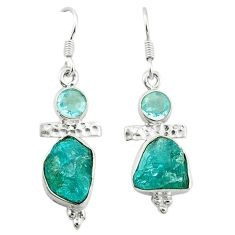 Blue apatite rough topaz 925 sterling silver dangle earrings jewelry d4533