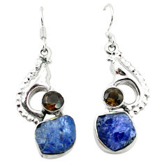 Clearance Sale- 925 silver natural blue tanzanite rough dangle earrings jewelry d4536