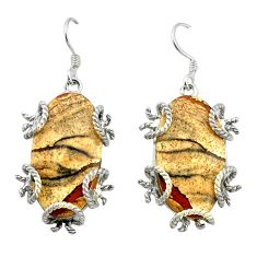 Natural brown picture jasper 925 sterling silver dangle earrings jewelry d4548