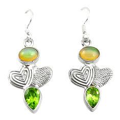 Clearance Sale- lor ethiopian opal 925 silver couple hearts earrings d4792