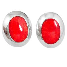925 sterling silver red sponge coral enamel stud earrings jewelry d5124