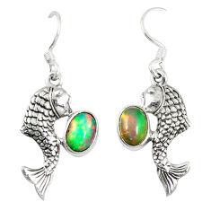 Clearance Sale- lor ethiopian opal 925 sterling silver fish earrings d6474