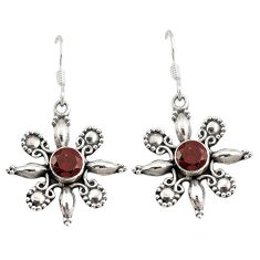Clearance Sale- Natural red garnet 925 sterling silver dangle earrings jewelry d6652