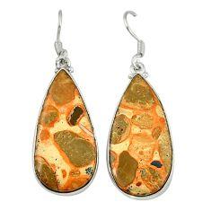 925 sterling silver natural red birds eye pear dangle earrings jewelry d6745