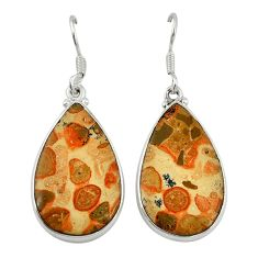 Natural red birds eye 925 sterling silver dangle earrings jewelry d6751