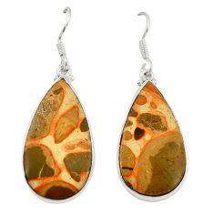 Natural red birds eye 925 sterling silver dangle earrings jewelry d6753