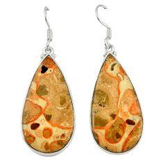 Natural red birds eye 925 sterling silver dangle earrings jewelry d6757