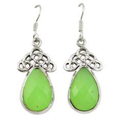 Natural green prehnite 925 sterling silver dangle earrings jewelry d7183