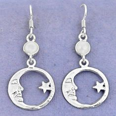 Natural white pearl 925 silver crescent moon star earrings jewelry d9381